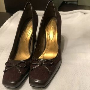 Enzo Suede patent leather pump